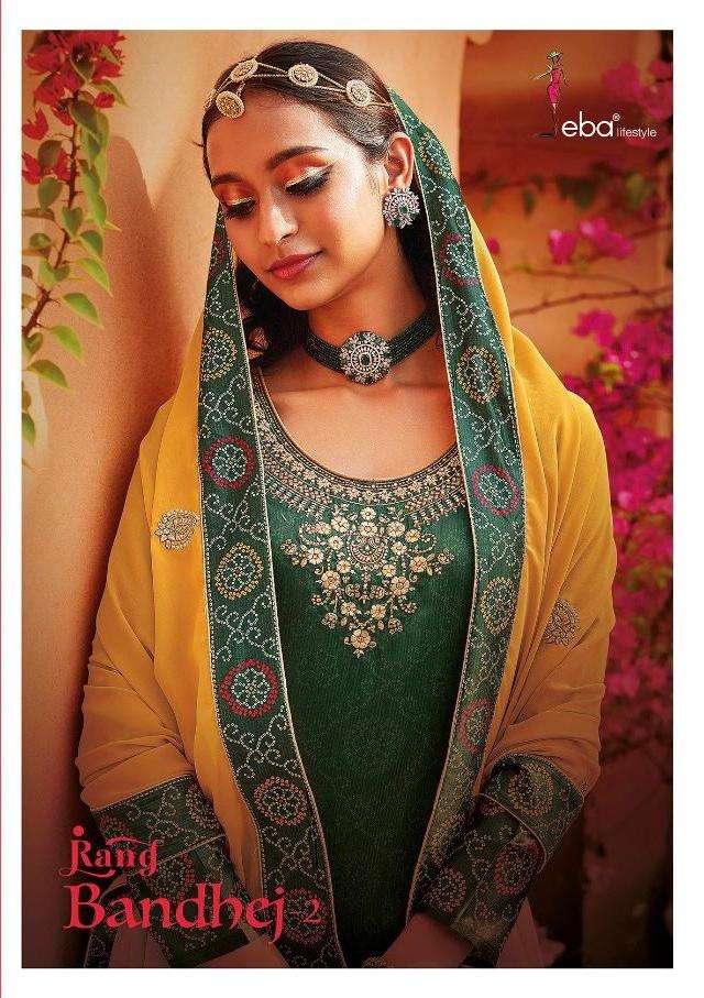 Rang Bandhej Vol 2 By Eba Satin Fancy Work Suits Wholesaler