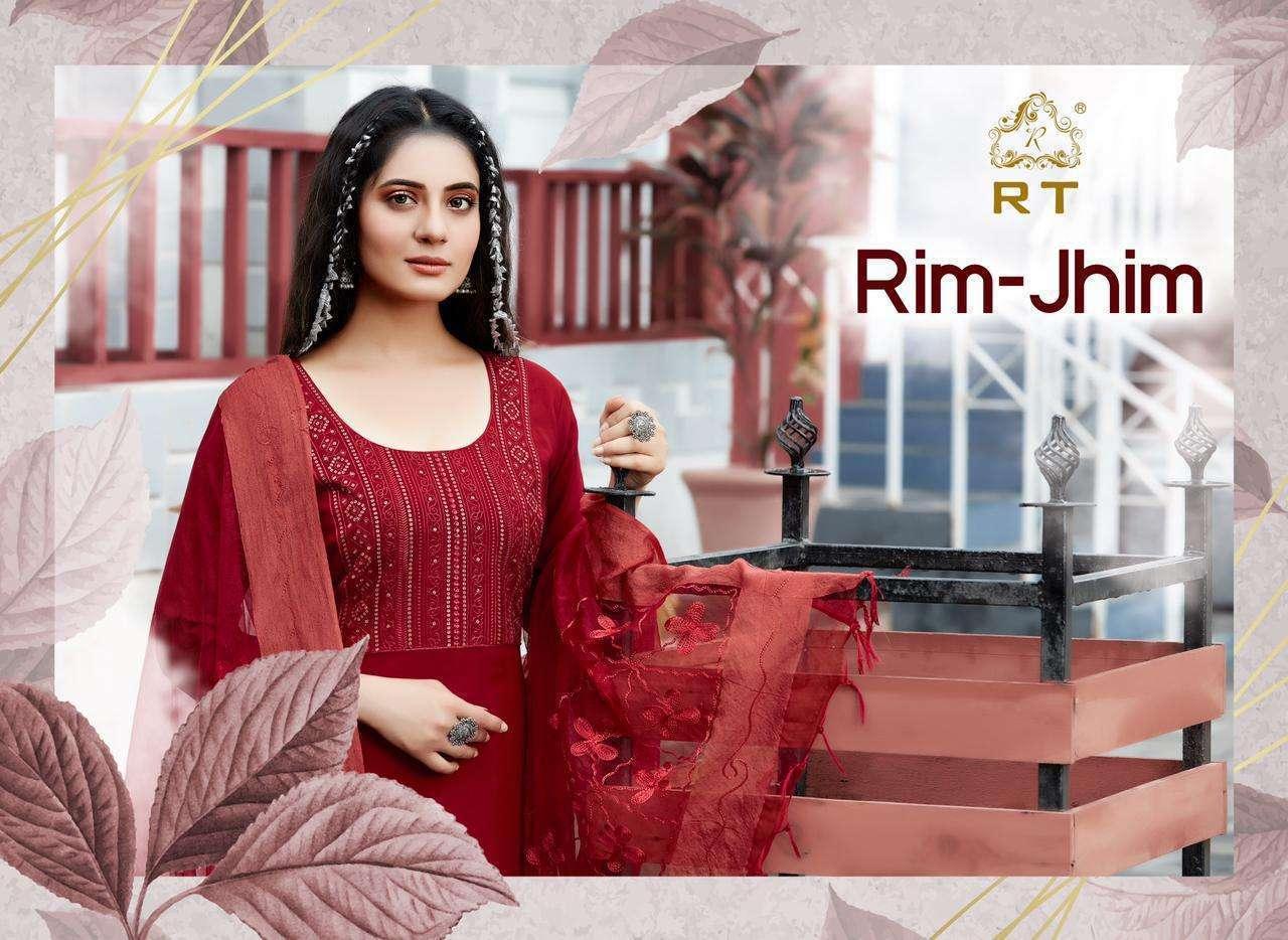 Rim-jhim Latest Fancy Rayon Embroidered Kurti With Dupatta Set By Rijiya Trends
