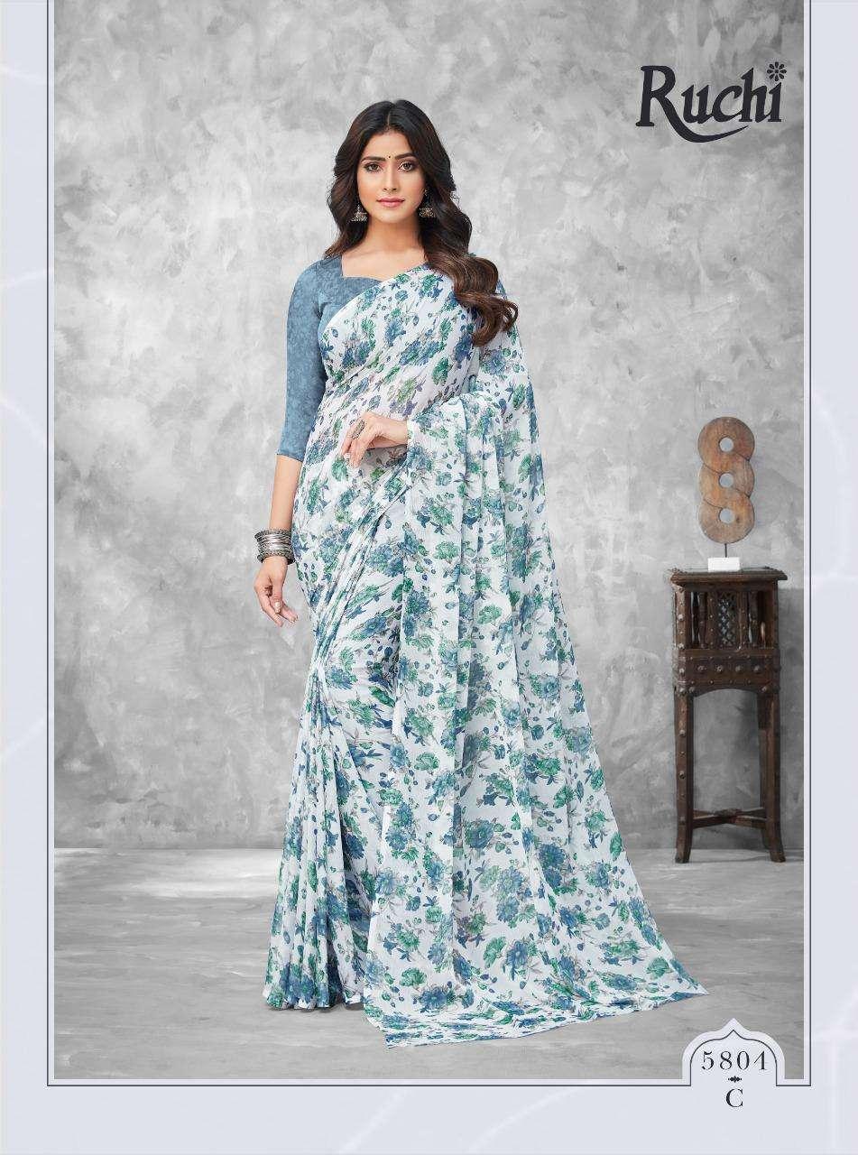 Ruchi Kesariya Chiffon Vol 58 Printed Saree Wholesaler
