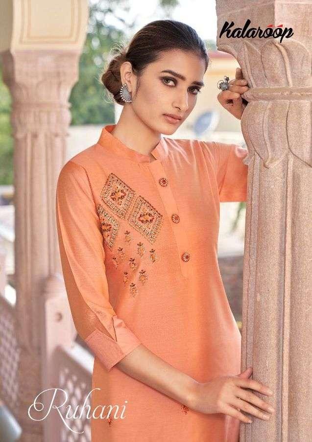 Ruhani By Kalaroop Silk Fancy Work Kurtis