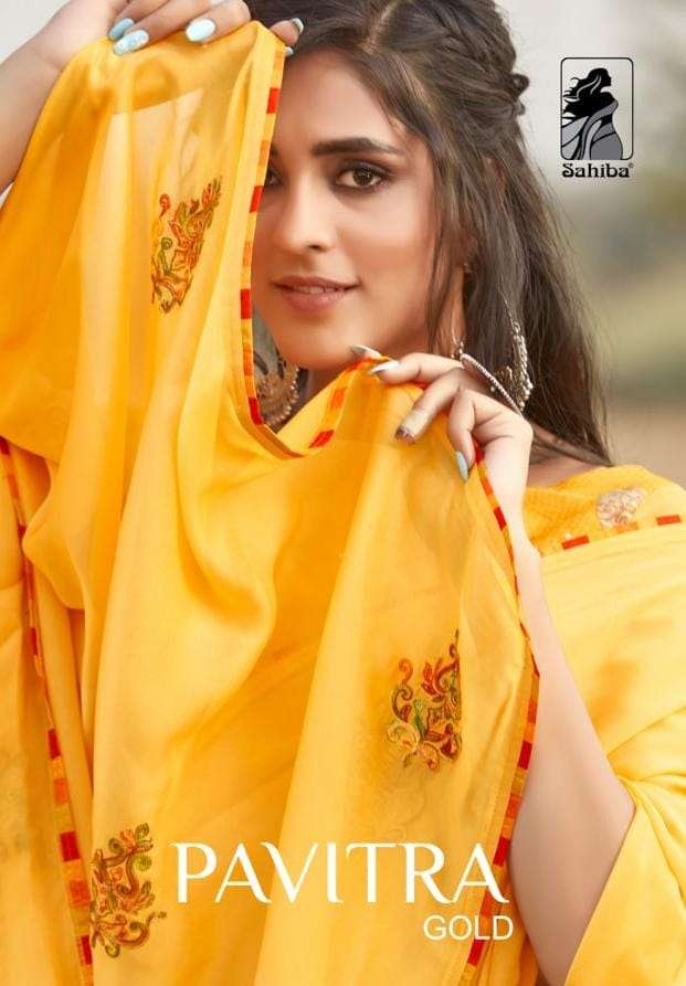 Sahiba Pavitra Gold Ethnic Wear Fancy Saree Wholesaler