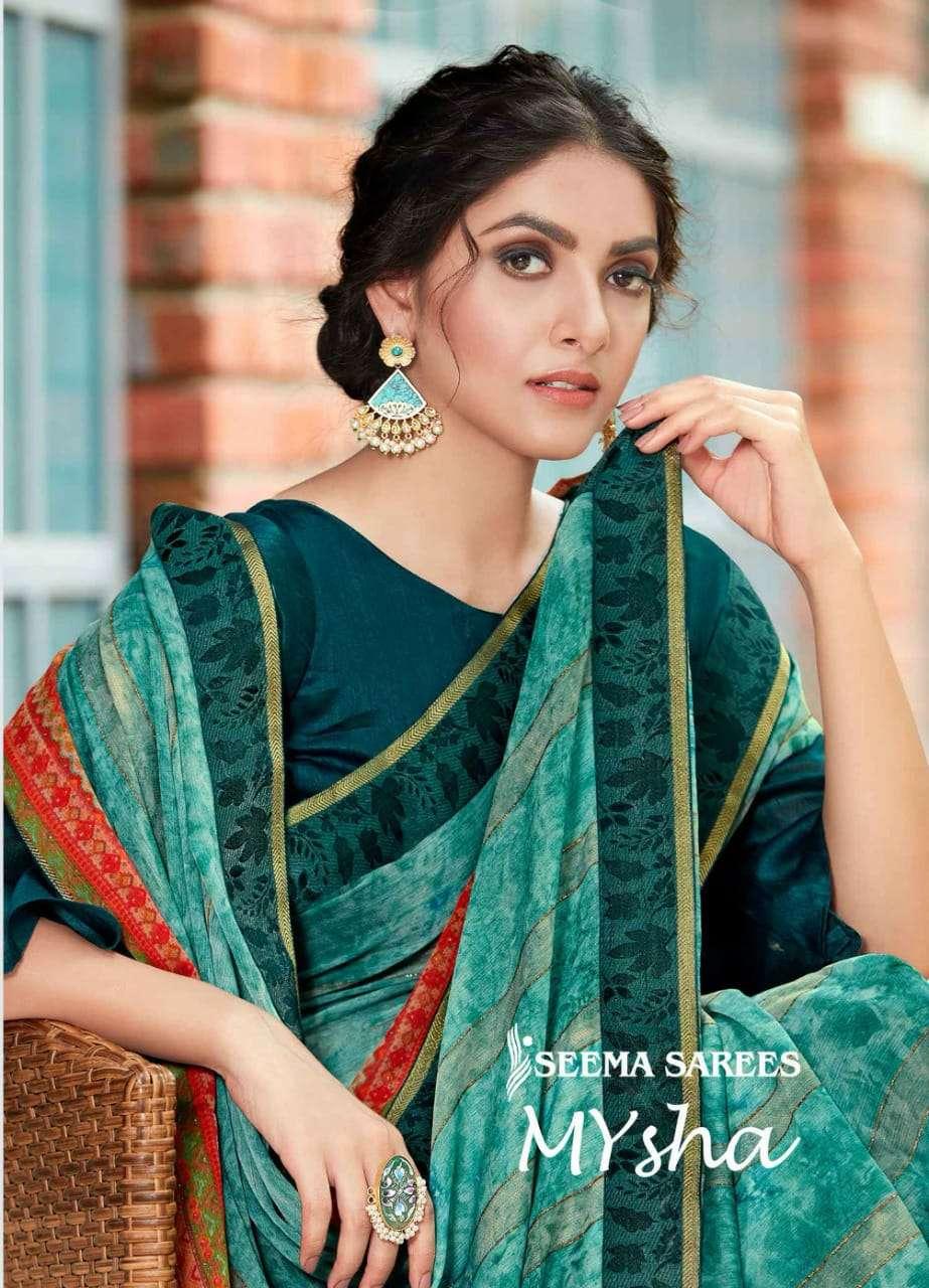 Seema Mysha Moss Printed Designer Sarees