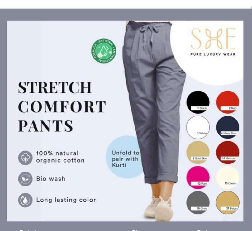Stretch Comfort Pants By She Bottom Wear Pant For Women Girls