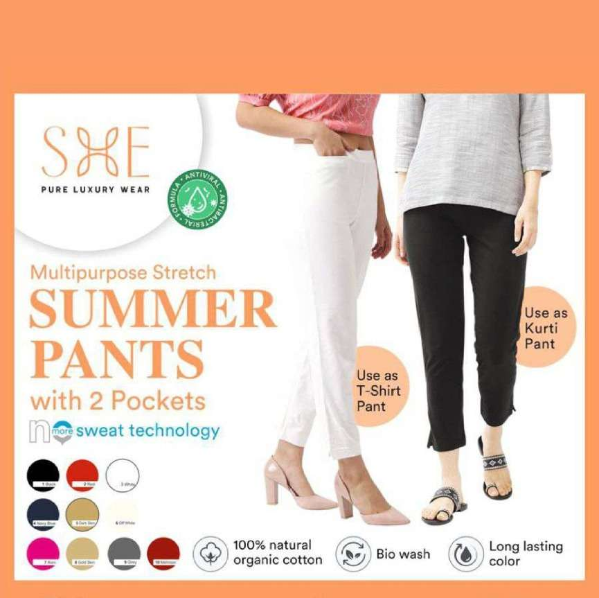 Summer Pants By She Brand Cotton Stretch Pant Exports