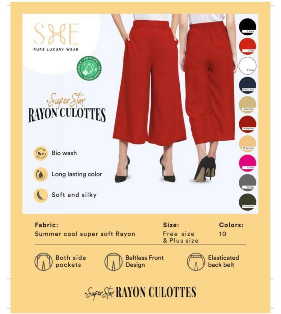 Super Star Rayon Culottes By She Brand Bottom Wear Luxury Collection