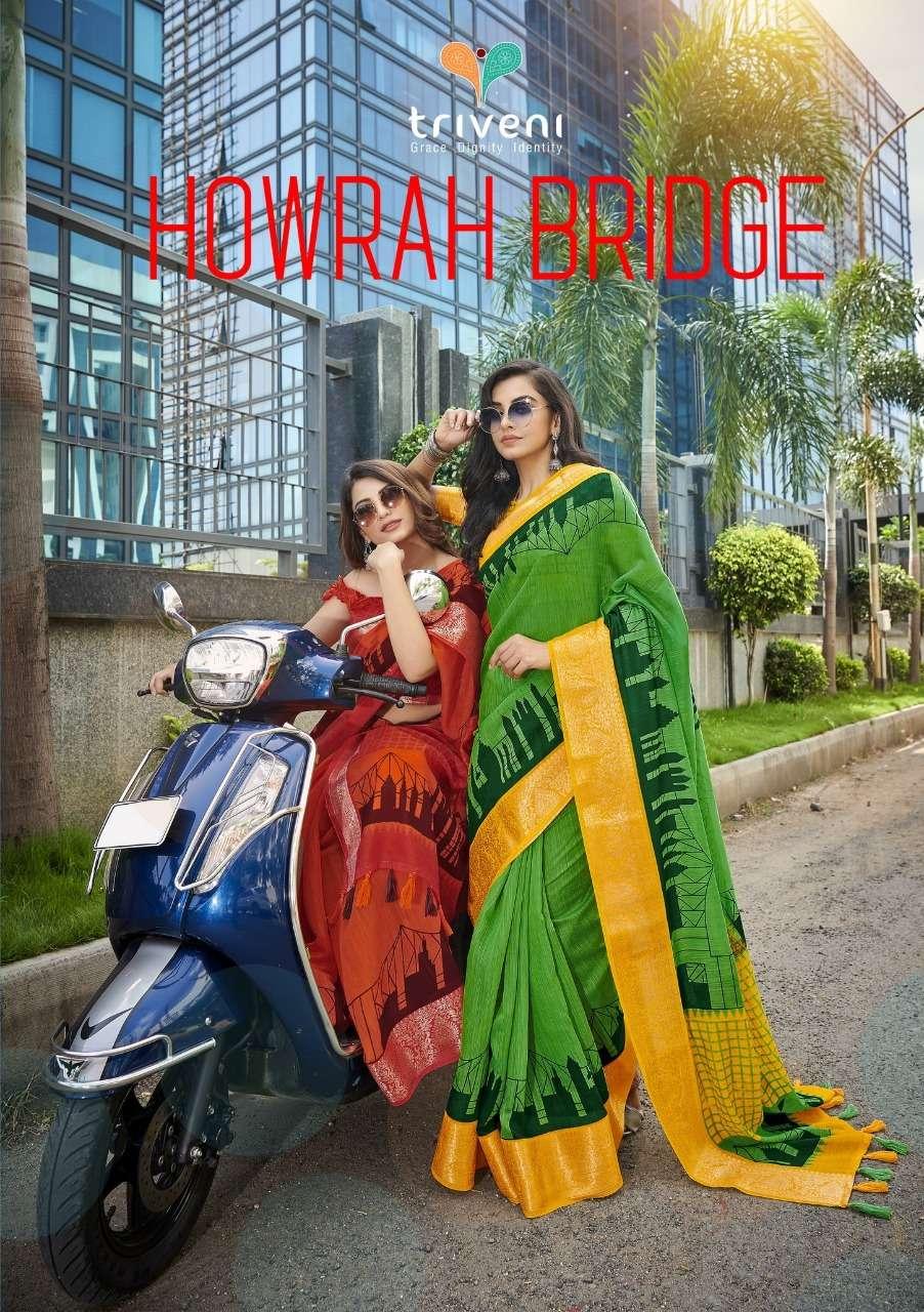 Triveni Howrah Bridge Cotton Linen Printed Sarees