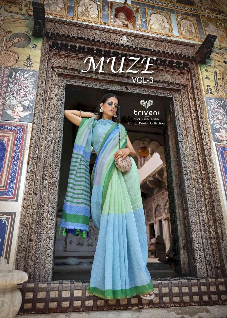 Triveni Muze Vol 3 Cotton Linen Printed Fancy Saree