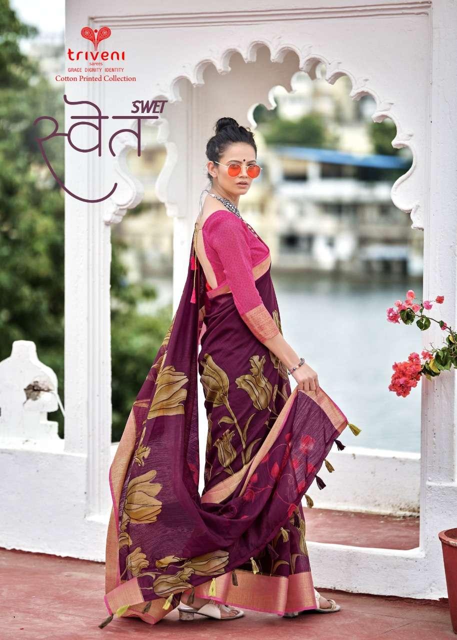Triveni Swet Cotton Linen Printed Saree Supplier