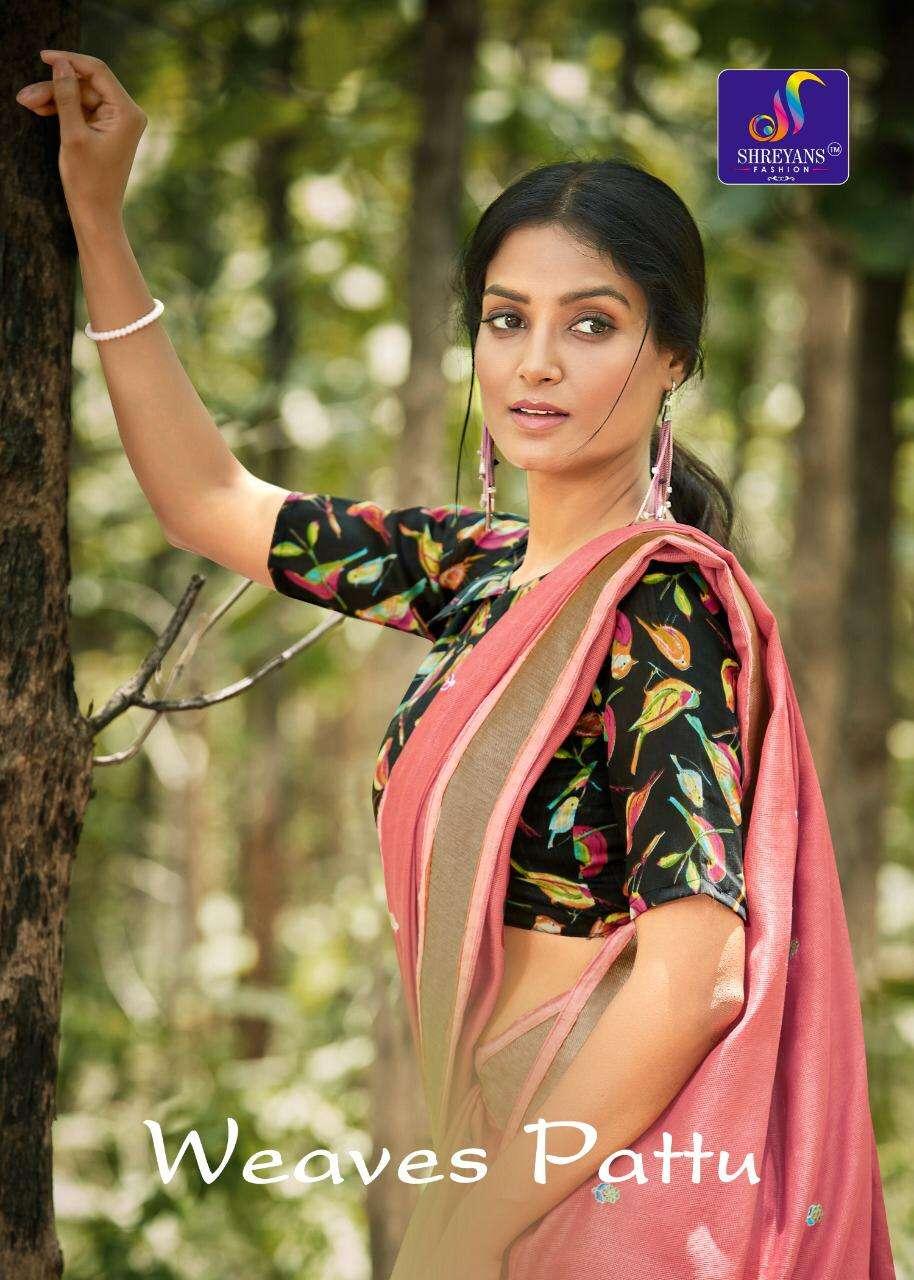 Weaves Pattu By Shreyans Linen Fancy Designer Saree