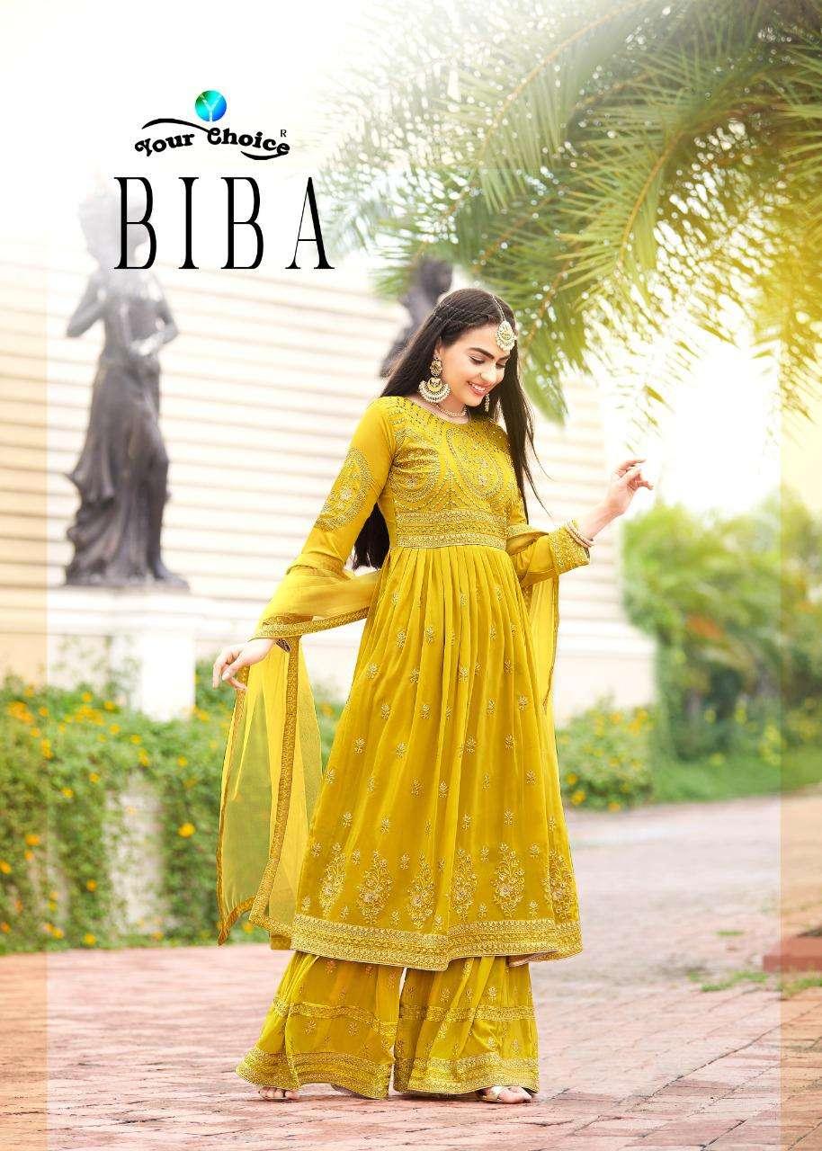 Your Choice Biba Georgette Peplum Suit With Stitch Garara