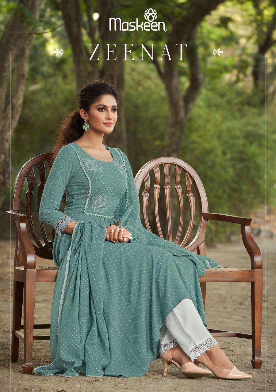 Zeenat By Maskeen Rayon Readymade Party Wear Suits