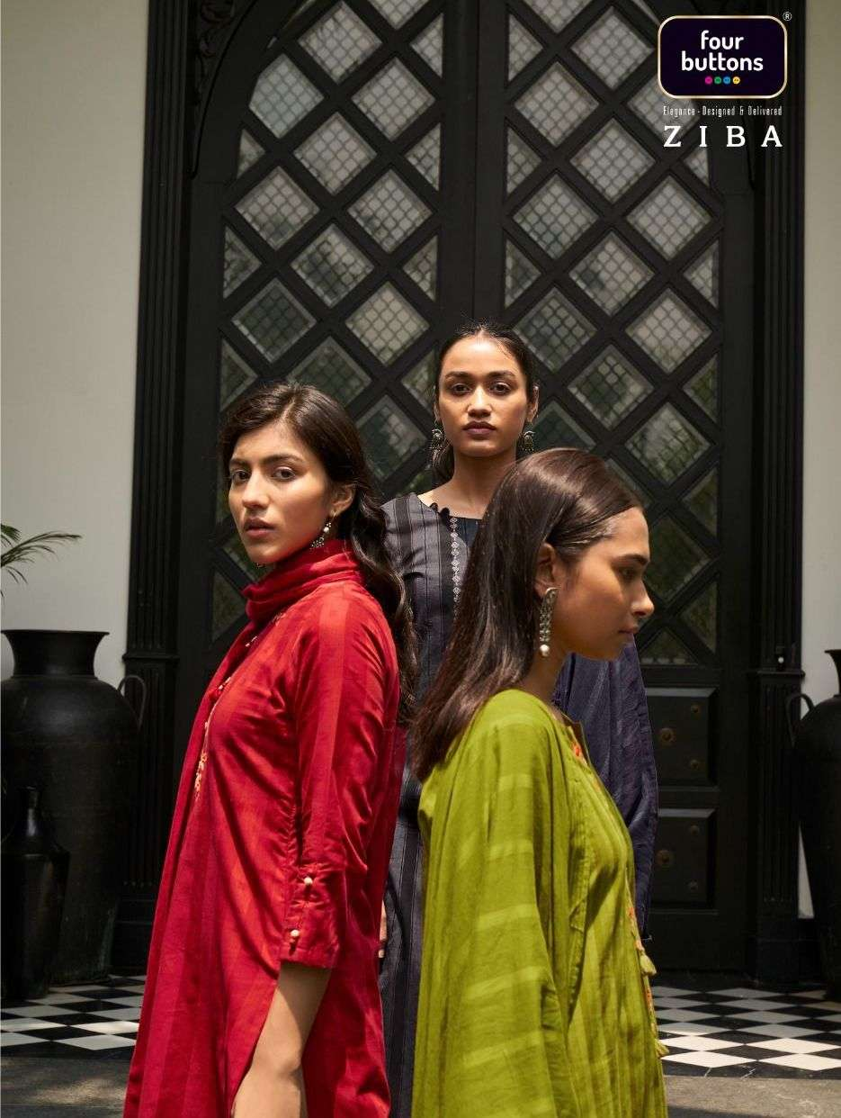 Ziba By Four Buttons 3 Piece Readymade Dresses Exports