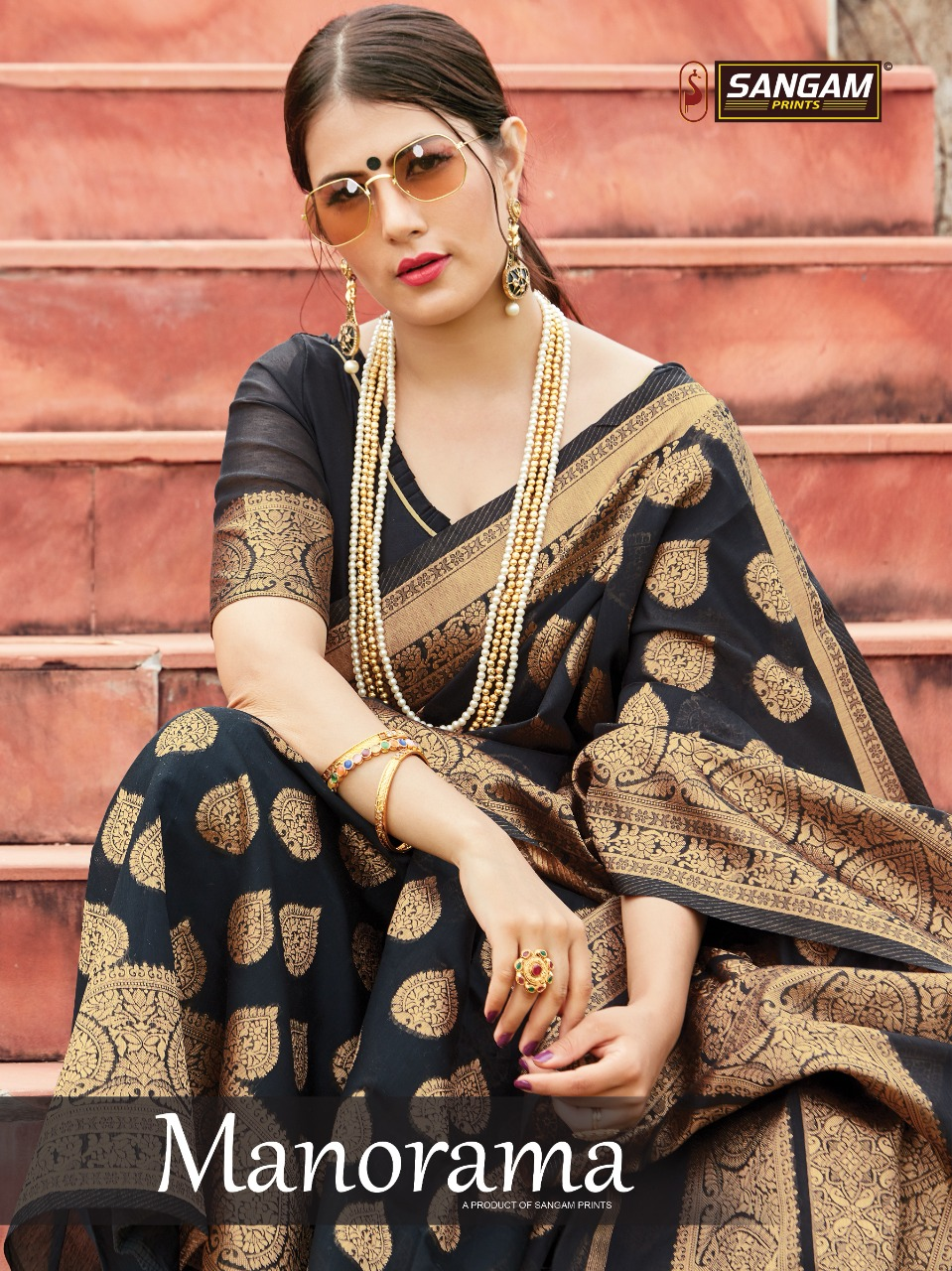 sangam prints manorama cotton designer cotton sari wholesaler