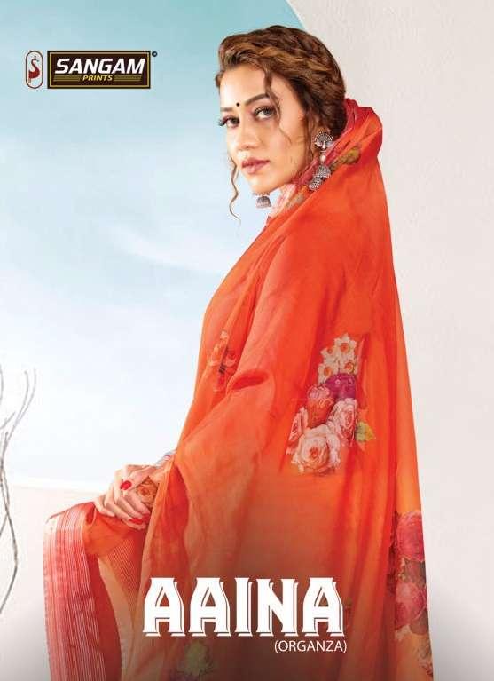sangam prints aaina designer organza digital print saris wholesaler