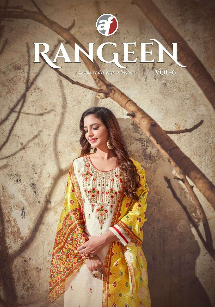 Anju Fab Rangeen Vol 6 Party Wear Fancy Kurti With Dupatta