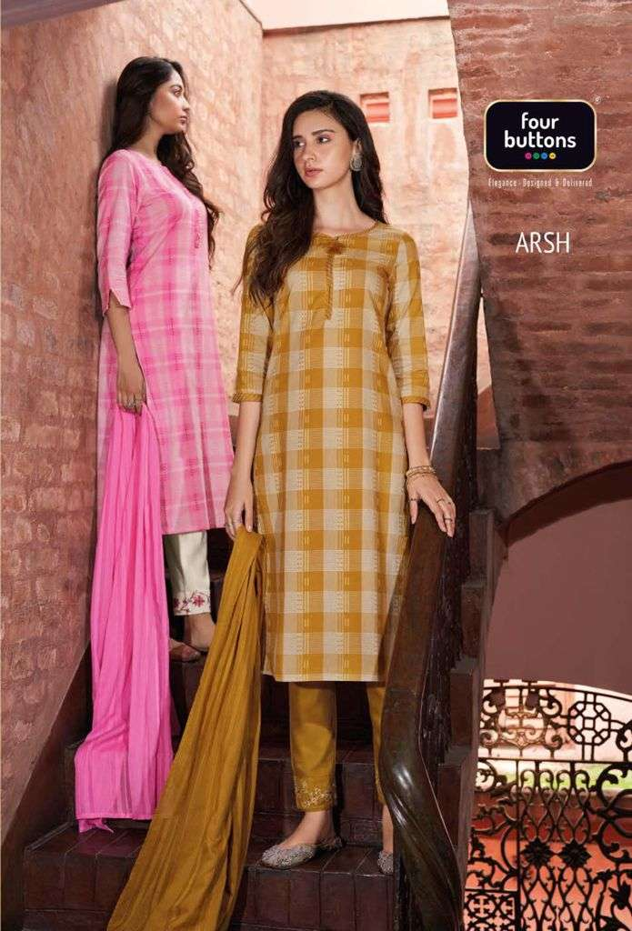 Arsh Pure Cotton Fancy Kurti With Bottom & Dupatta By Four Buttons