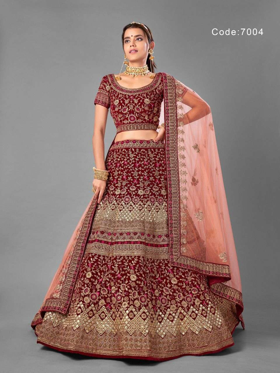 Arya 7001-7012 Series Vol 18 Wedding Bridal Velvet Lehenga