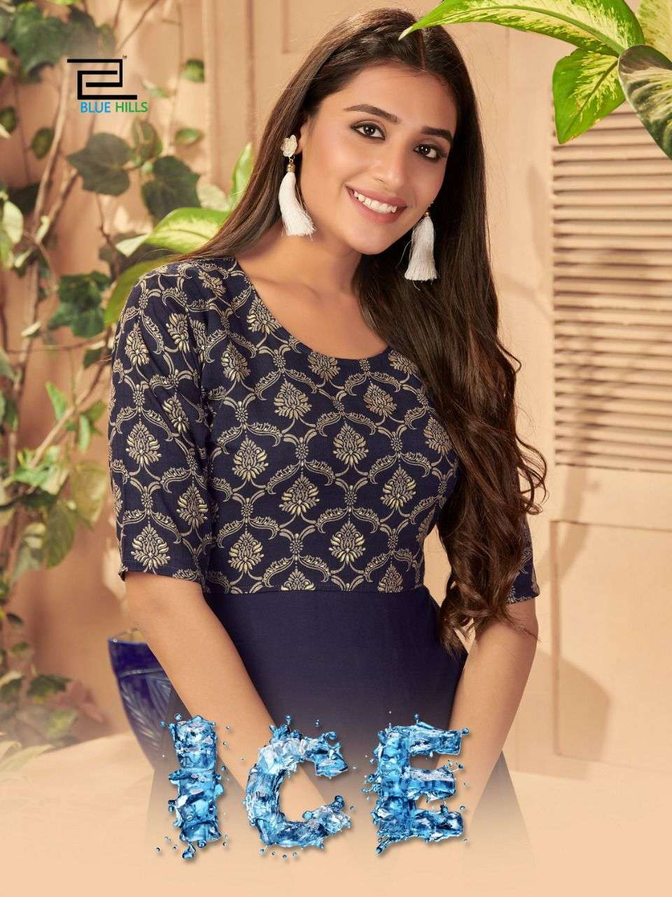 Blue Hills Ice Rayon Printed Gown Collection