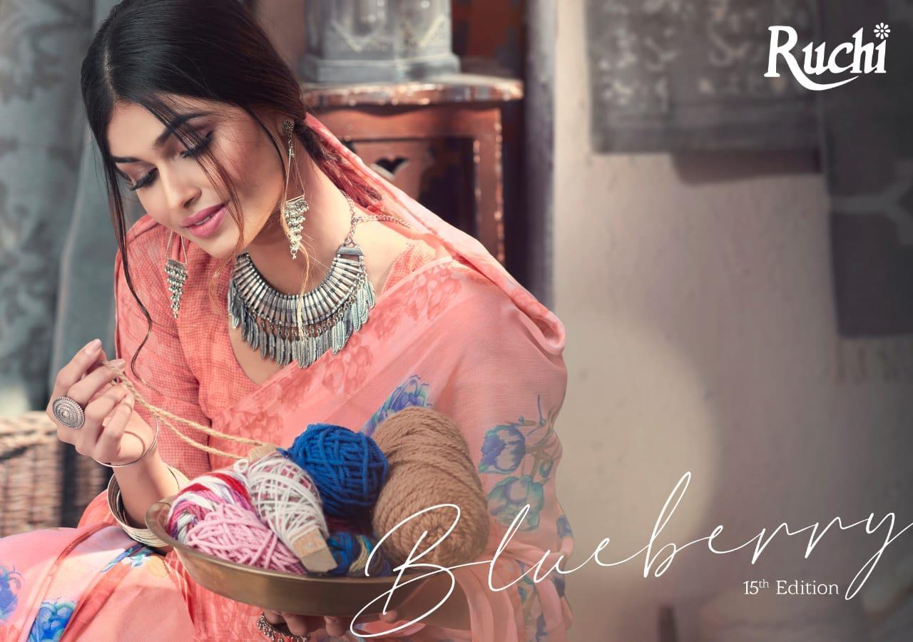 Blueberry 15 Edition By Ruchi Saree Chiffon Satin Border Synthetic Saree Catalogs