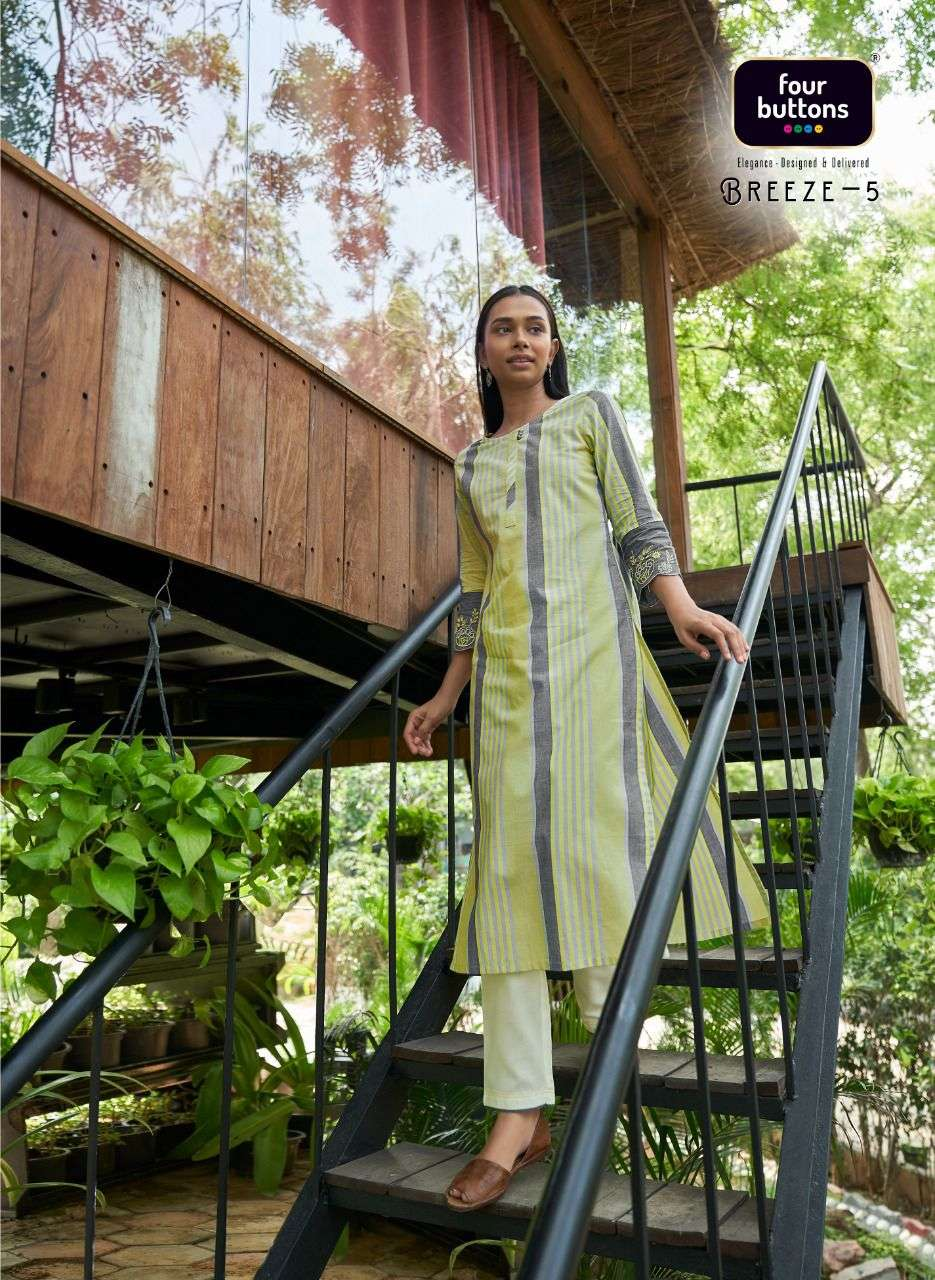 Breeze Vol 5 By Four Buttons Cotton Daily Wear Kurti