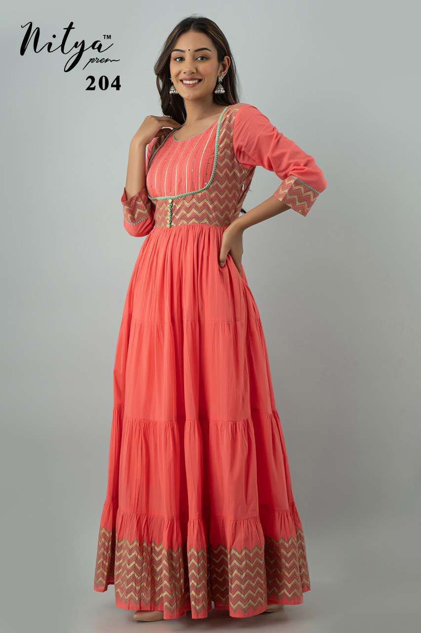 Design 204 Gracious Cotton Full Flared Ankle Length Gown By Lt Nitya