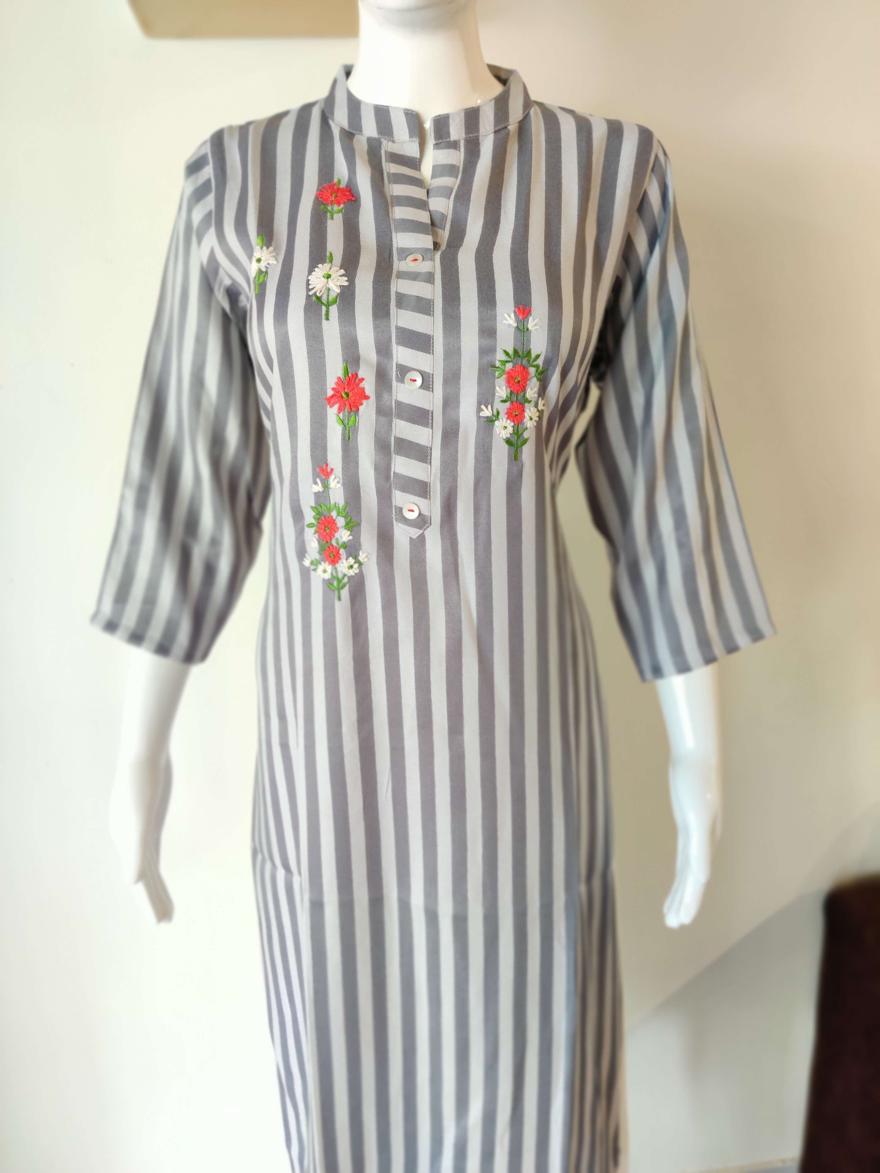 Fancy Cotton Stripes Kurti With Embroidery