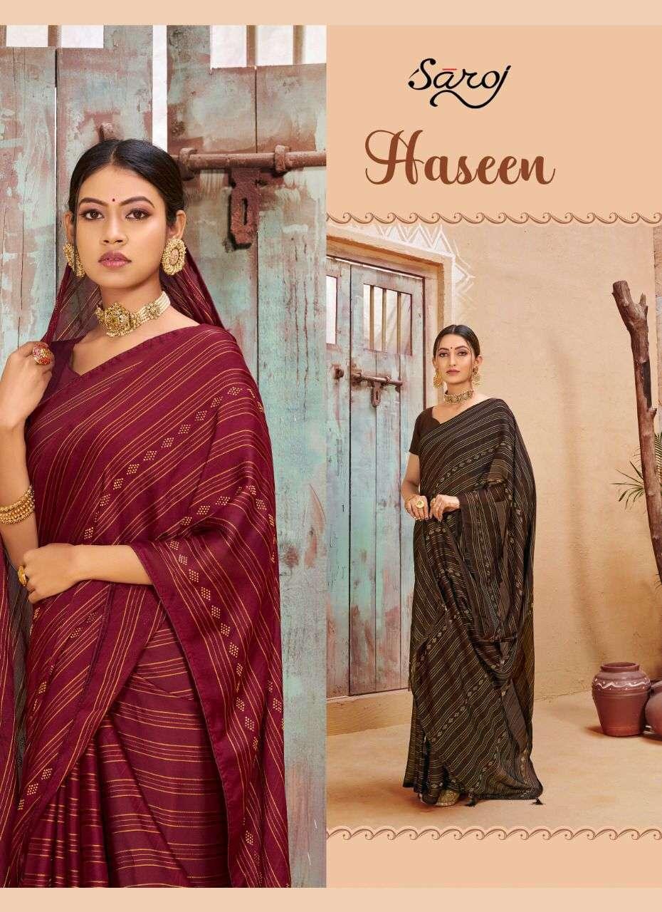 Haseen By Saroj Georgette Satin Designer Sarees
