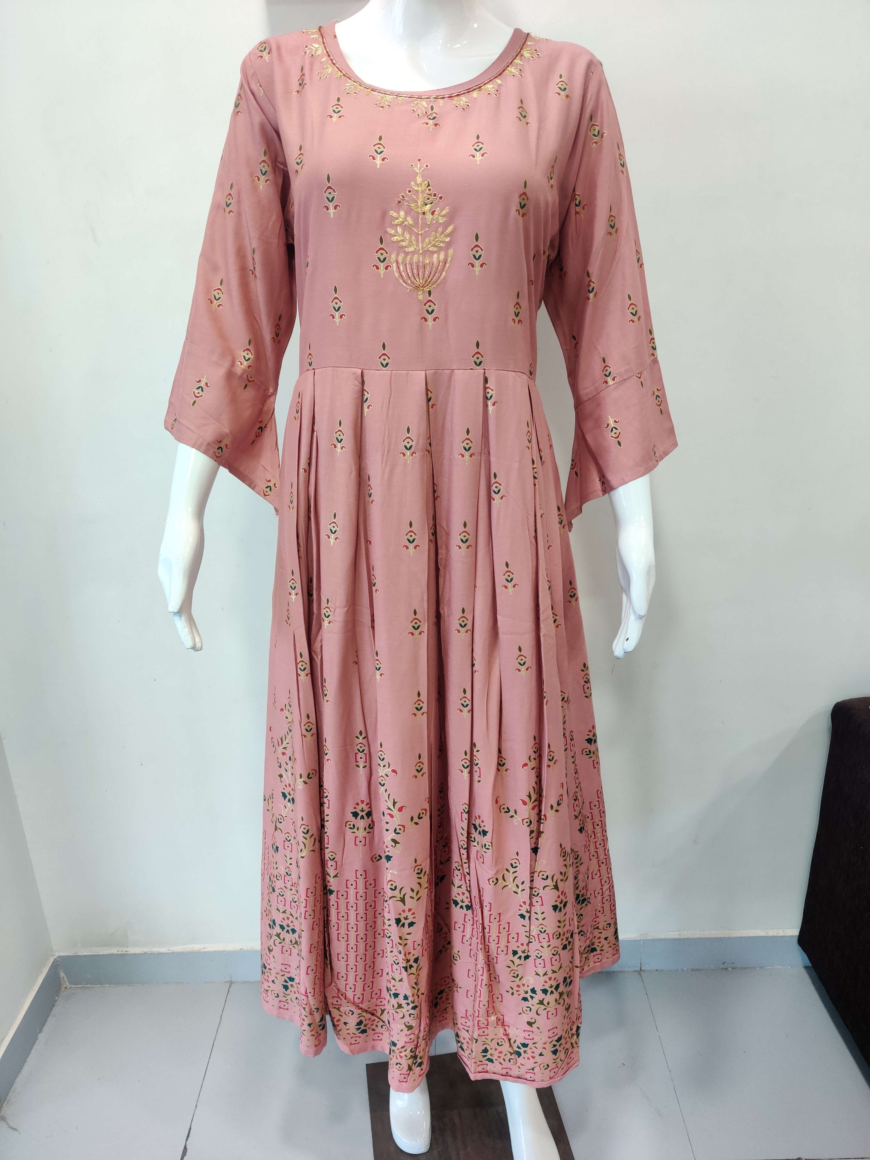 Heavy Rayon Foil Print Gown With Beautiful Pitta Work