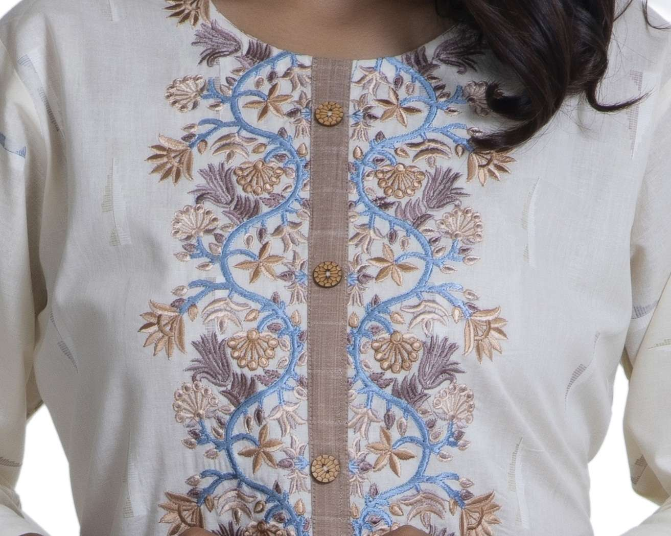 Ikkat Cotton Print With Embroidery And Plazo