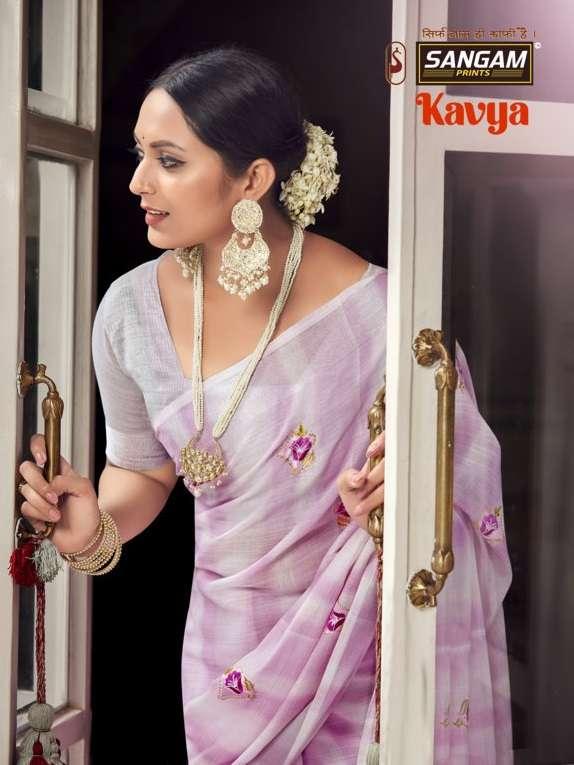 Kavya By Sangam Linen Cotton Embroidery Sari Supplier