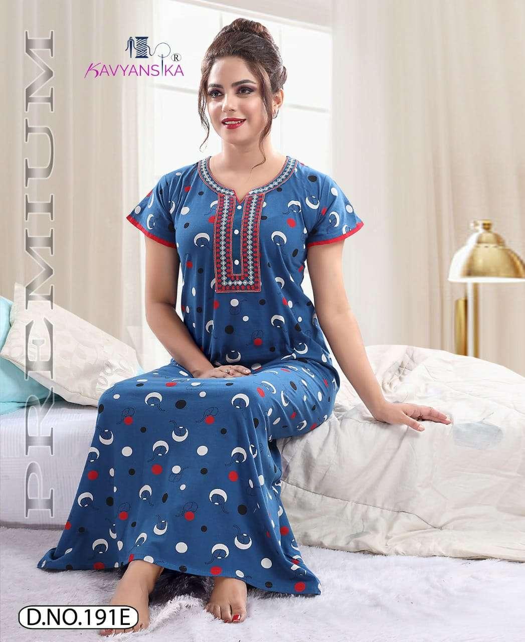 Kavyansika 191 Cotton Work Ladies Nighty Collection