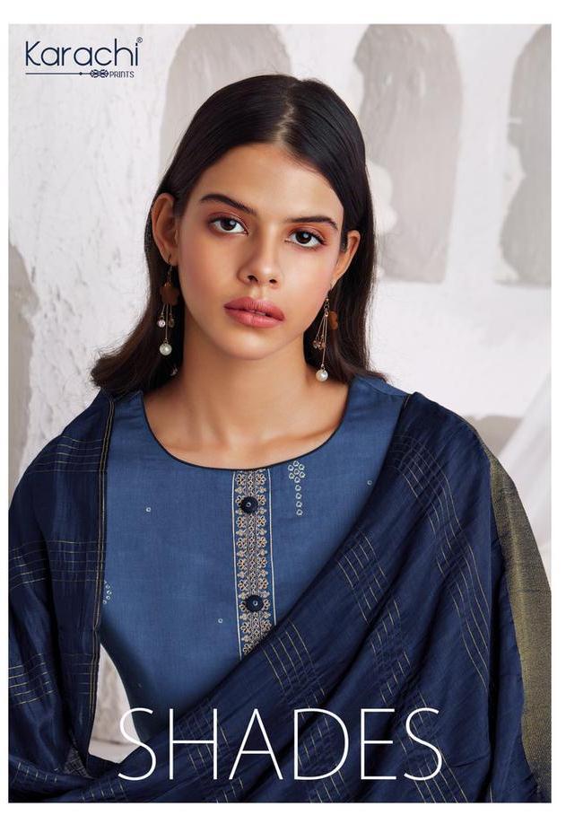 Kesar Karachi Prints Shades Jam Satin With Fancy Colections Dress Materials