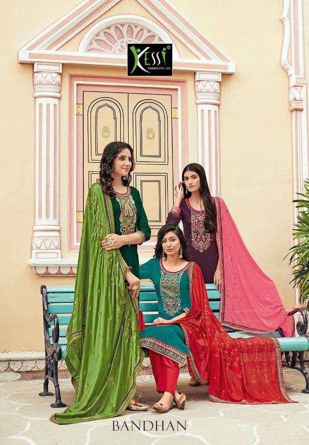 Kessi Bandhan Jam Silk Work Fancy Suits Wholesaler