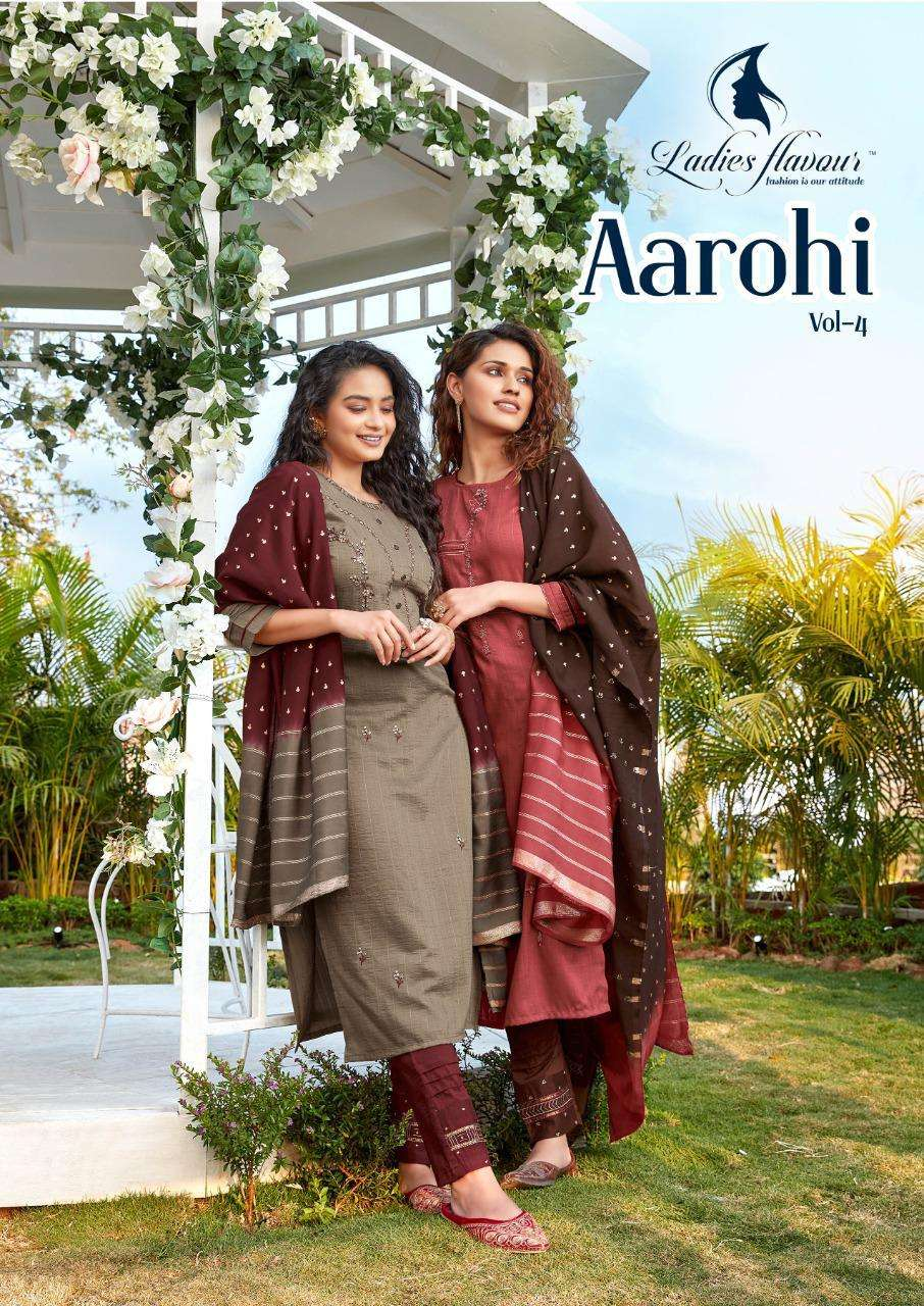 Ladies Flavour Aarohi Vol 4 Readymade Fancy Suits Supplier