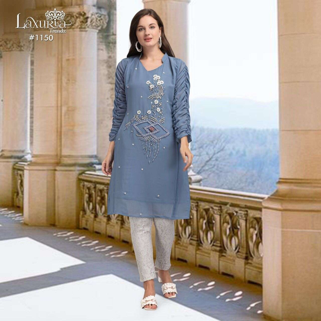 Laxuria 1150 Georgette Pakistani Kurti With Pant