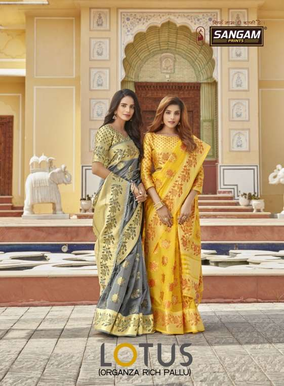 Lotus By Sangam Designer Organza Rich Pallu Weaving Sari Supplier