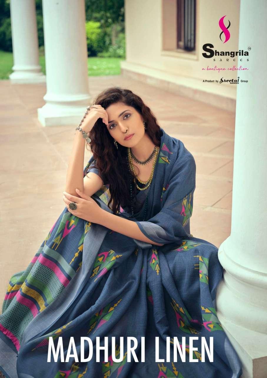 Madhuri Linen Designer Soft Linen Sarees With Zari Border By Shangrila