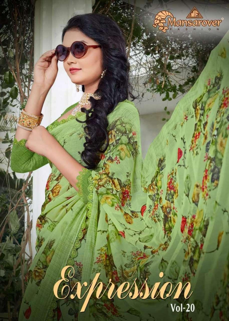 Mansarover Fashion Expression Vol 20 Pure Chiffon Print Saree Seller