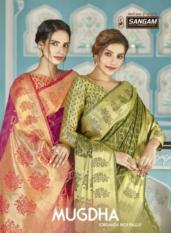Mugdha By Sangam Designer Organza Rich Pallu Weaving Sari Supplier