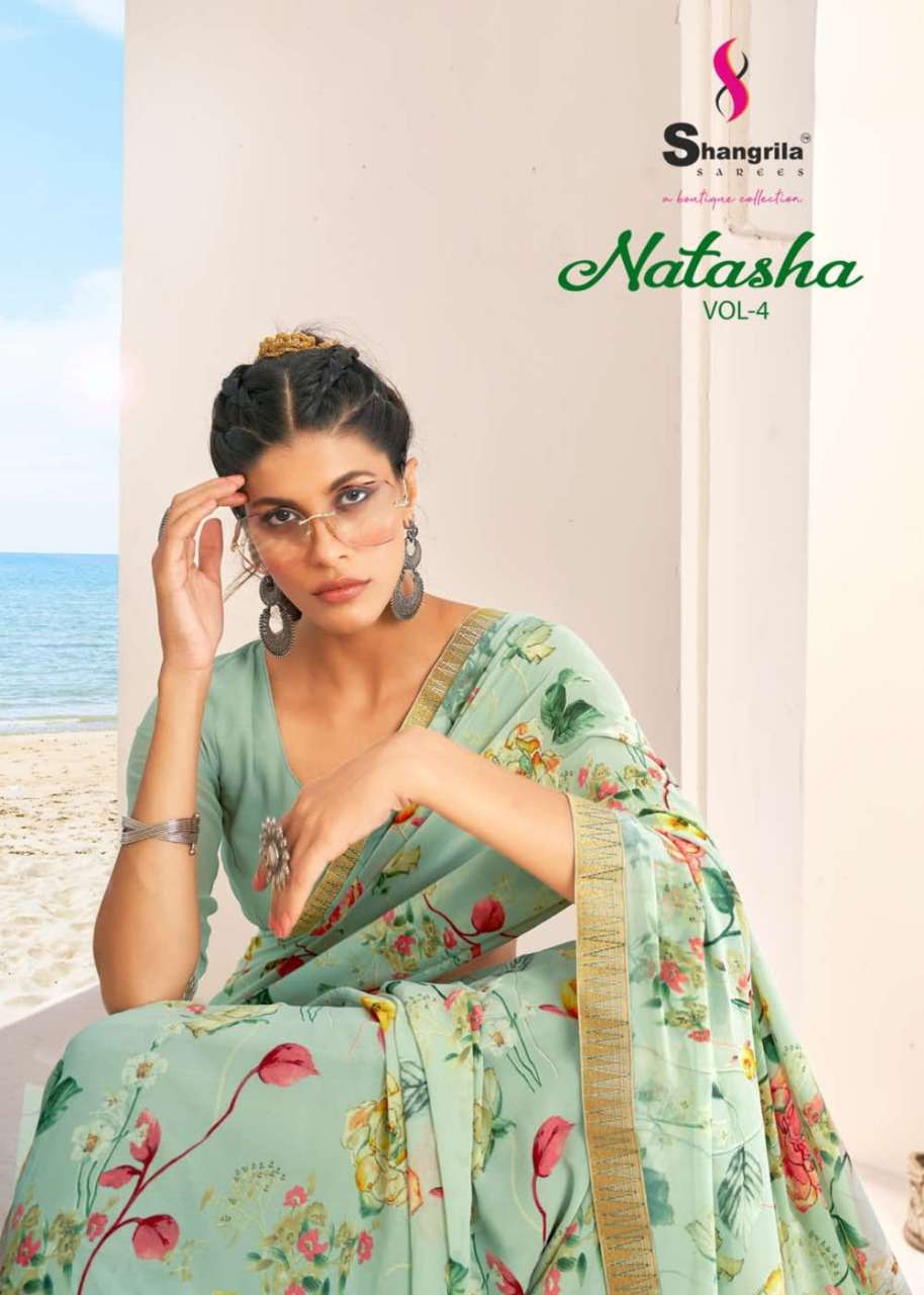 Natasha Vol 4 Fancy Floral Print Sarees With Exclusive Weaving Jaquard Border By Shangrila