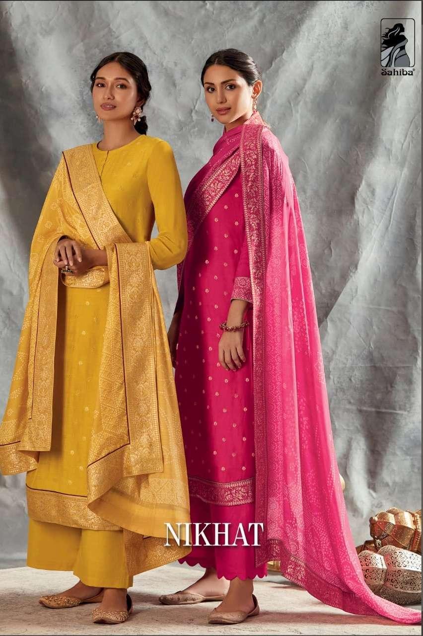 Nikhat By Sahiba Jacquard Designer Fancy Suits