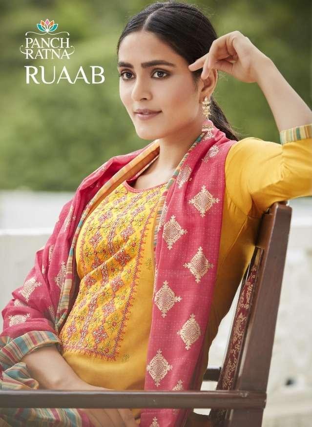 Panch Ratna Ruaab Cotton Satin Ethnic Dress Materials