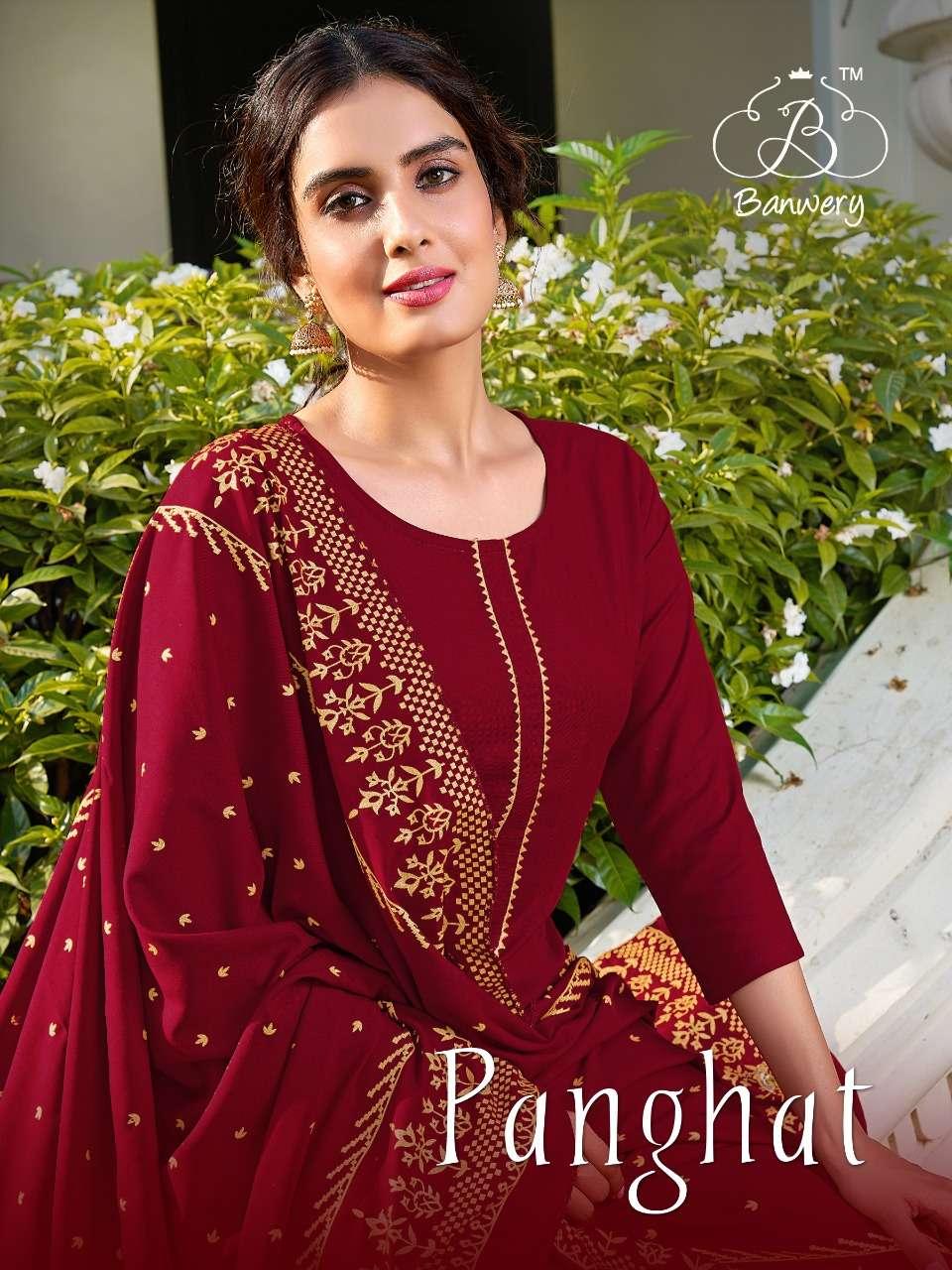 Panghat Rayon Kurti Pant With Dupatta By Banwery