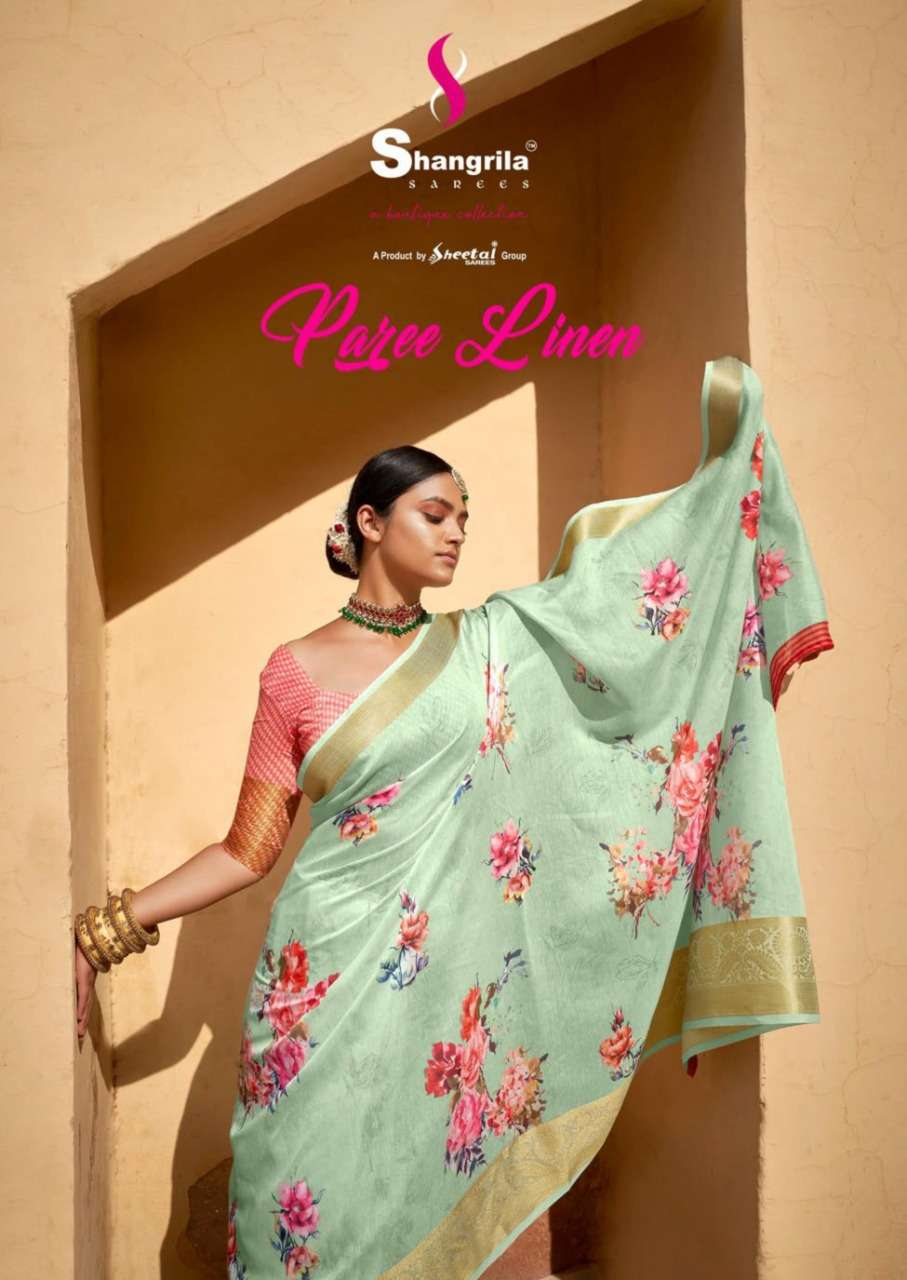 Paree Linen Latest Soft Linen Range With Heavy Jaquard Border By Shangrila