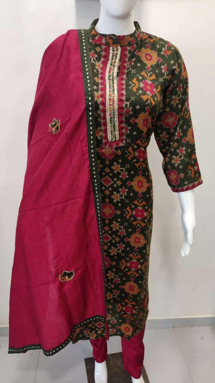 Pashmina Kurti With Pant And Applique Work Dupatta