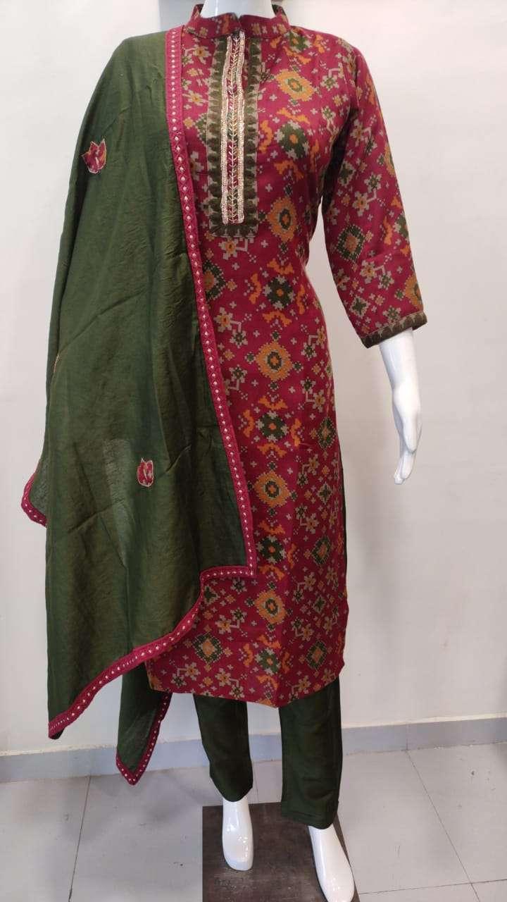 Pashmina Kurti With Pants And Applique Work Dupatta