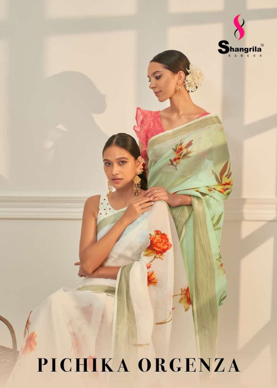 Pichika Orgenza Fancy Floral Sarees With Weaving Border By Shangrila
