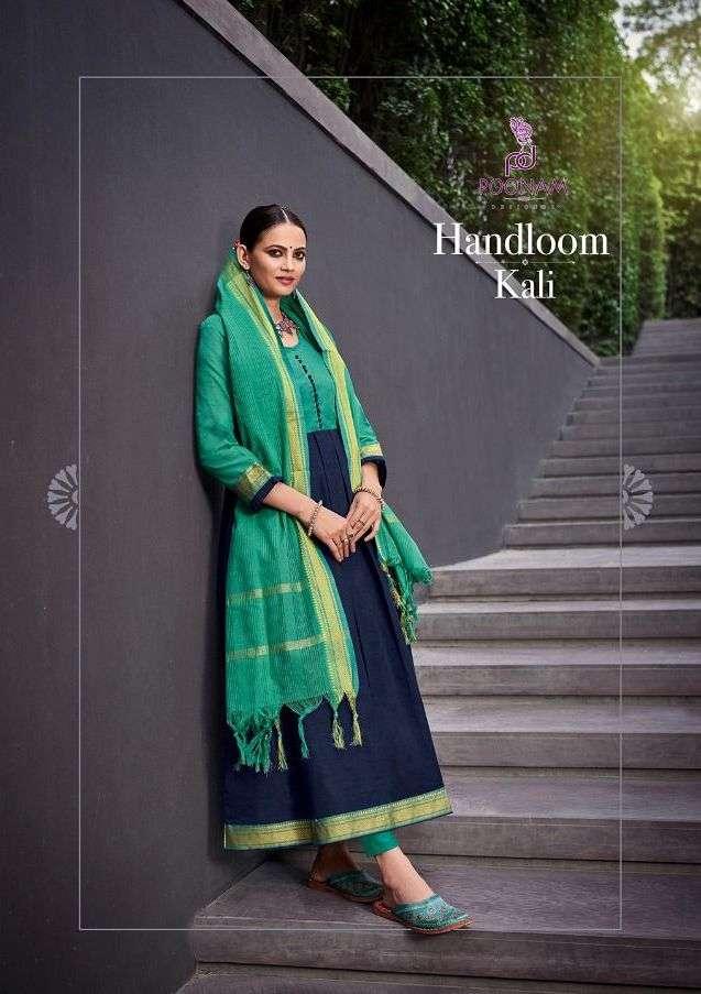 Poonam Handloom Kali Cotton Jacquard Long Gown With Dupatta