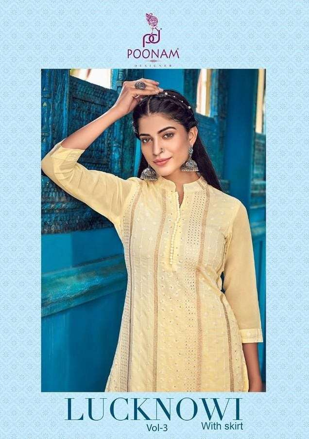 Poonam Lucknowi Vol 3 Georgette Kurti With Skirt Plus Sizes Collection