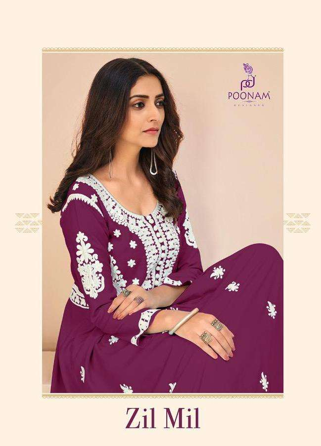 Poonam Zil Mil Rayon Party Wear Long Gowns